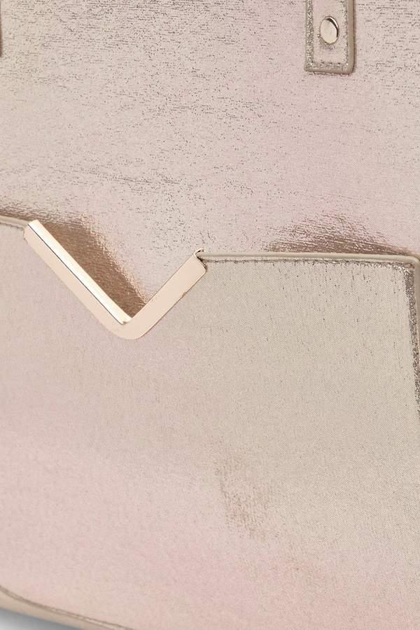 boohoo Lani Pocket Front Metallic Winged Tote