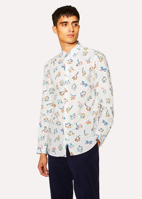 Paul Smith Men's Tailored-Fit White 'Impasto Floral' Print Cotton Shirt