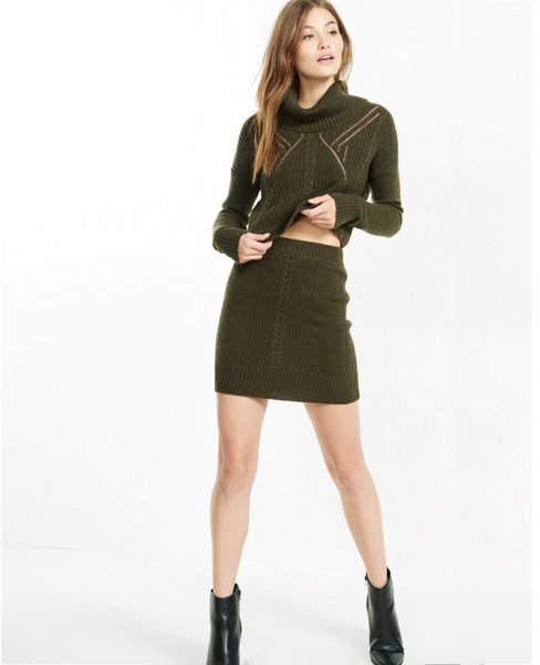 Express cable knit fitted mini skirt