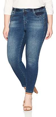 Denim Crush Women's Stone and Chain Embellished High Rise Skinny Jean Plus Size