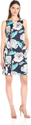 Nine West Women's Floral Shift Dress with Side Panels and Front Pockets
