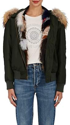 Mr & Mrs Italy Women's Fur-Lined Bomber Jacket - Green