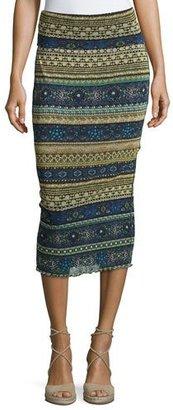 Fuzzi Striped Tulle Midi Tube Skirt, Blue Pattern $275 thestylecure.com