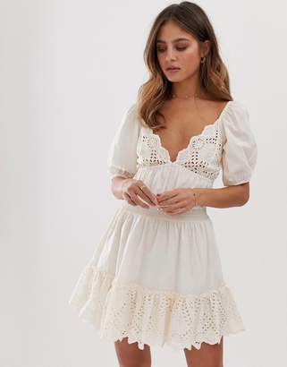 Asos Design DESIGN sweetheart broderie mini dress with elasticated waist