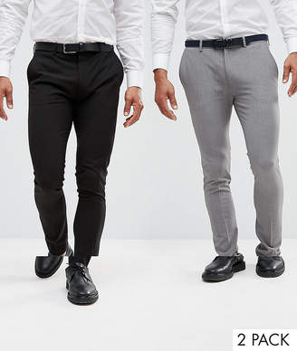 Asos 2 Pack Super Skinny Trousers In Black And Grey Save