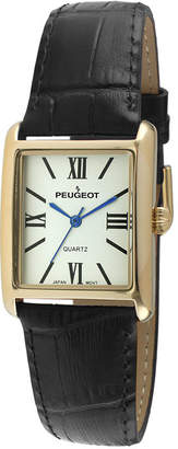 Peugeot Womens Square Black Leather Strap Watch 3036BK