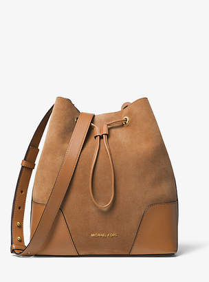 Michael Kors Cary Medium Suede And Leather Bucket Bag