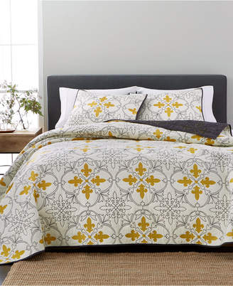 Martha Stewart Collection Cotton Reversible Fleur-De-Lis Twin Quilt