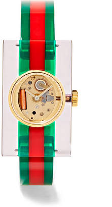 Gucci Plexiglas® And Gold-tone Watch - Green