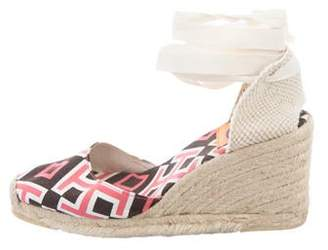 Tory Burch Canvas Printed Wedges