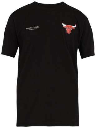 Marcelo Burlon County of Milan Chicago Bulls Appliqued T Shirt - Mens - Black Multi