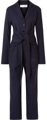 Victoria, Victoria Beckham - Tie-front Silk-trimmed Stretch-twill Jumpsuit - Midnight blue