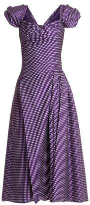 Carolina Herrera Sweetheart-neckline, puff-sleeve gingham dress
