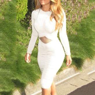 Showyourbest White Slim Women Round Neck Long Sleeve Evening Party Crinkle Sexy Dress