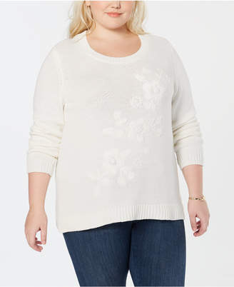 Style&Co. Style & Co Plus Size Tonal Flower-Embroidered Sweater
