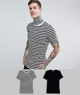 Asos DESIGN muscle fit black stripe/plain black t-shirt 2 pack SAVE