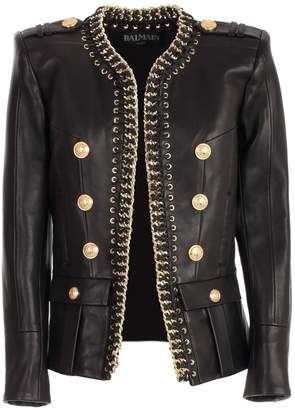 Balmain Chained Leather Jacket
