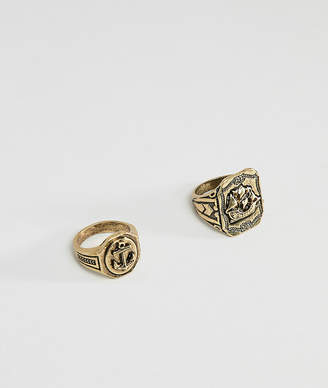 Asos DESIGN nautical chunky ring pack in burnished gold tone