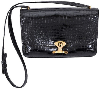 One Kings Lane Vintage HermAs Black Crocodile Shoulder Bag - Vintage Lux