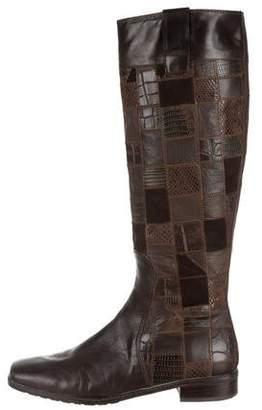 Stuart Weitzman Leather Square-Toe Boots