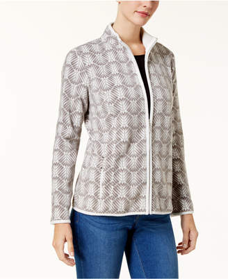 Karen Scott Petite Printed Fleece Jacket