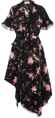 Preen by Thornton Bregazzi Clara Floral-print Silk-chiffon Midi Dress - Black