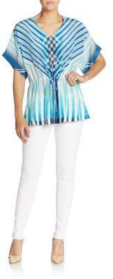 Liana Silk Stripe Blouson Top $278 thestylecure.com