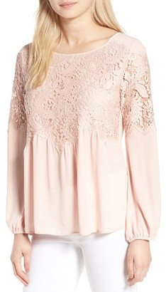 Women's Chelsea28 Button Back Lace Top $79 thestylecure.com
