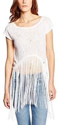 Lipsy Women's Pointel Lace Fringe Short Sleeve T-Shirt,Size