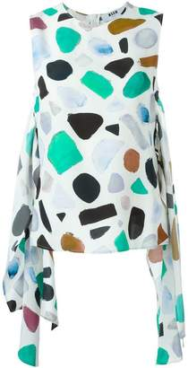 MSGM printed front tie tank top