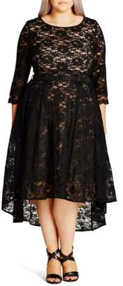 City Chic 'Lace Lover' High/Low Midi Dress
