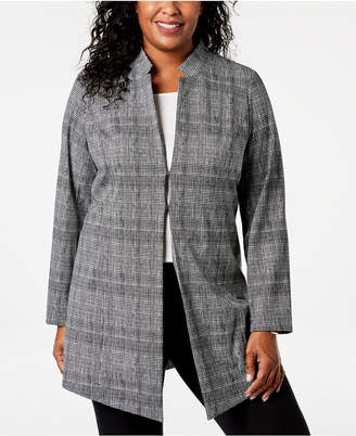 Alfani Plus Size Plaid Menswear Jacket, Created for Macy's