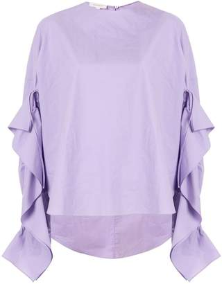 DELPOZO ruffle trim poplin shirt