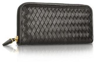 Fontanelli Women's Black Italian Woven Leather Concertina Zip Wallet