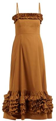 Molly Goddard Susie Ruffle Trimmed Cotton Poplin Midi Dress - Womens - Brown
