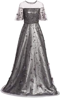 Theia Embellished Metallic A-Line Gown