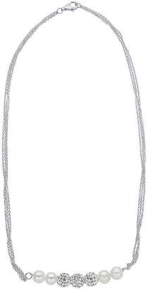 FINE JEWELRY Cultured Freshwater Pearl and White Crystal Sterling Silver Multi-Chain Necklace