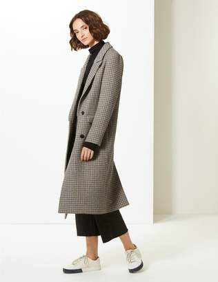 Marks and Spencer Checked Longline Coat