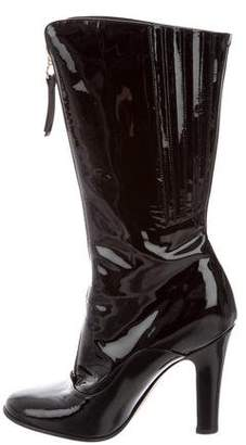 Valentino Patent Leather Mid-Calf Boots