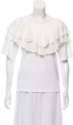 Chloé White Wardrobe Silk-Accented Ruffled Top