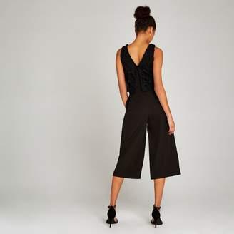 Apricot Black Lace Overlay Jumpsuit