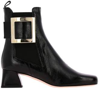 Roger Vivier Heeled Booties Tres Boots With Metal Patent Leather Buckle