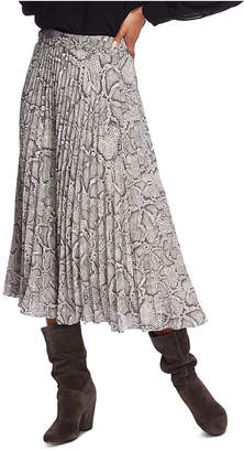 1 STATE 1.state Pleated Snake-Print Midi Skirt