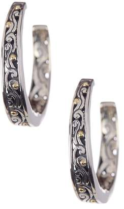Phillip Gavriel 18K Yellow Gold & Oxidized Sterling Silver Hoop Earrings