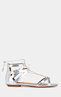 Aquazzura WOMEN'S BEVERLY HILLS METALLIC LEATHER ANKLE-TIE SANDALS - SILVER SIZE 10.5