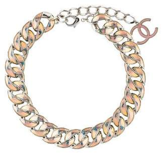 Chanel Iridescent Enamel Curb Chain Necklace