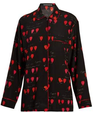 Alexander McQueen Heart Print Piped Edge Crepe Shirt - Womens - Black Print