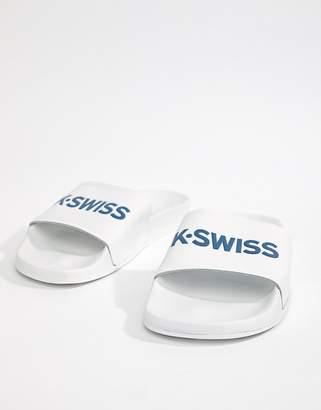 K-Swiss Logo Sliders In White