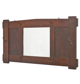 Rejuvenation Large Oak Arts & Crafts Mirror w/ Hooks