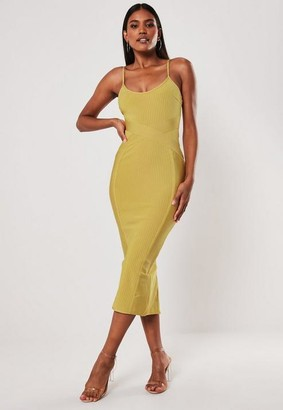 Missguided Premium Yellow Bandage Cross Front Cami Midaxi Dress